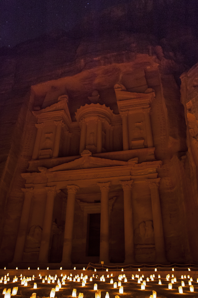 The Treasury / Al-Khazneh at night, Petra, Jordan ©Uchujin-Adrian Storey.