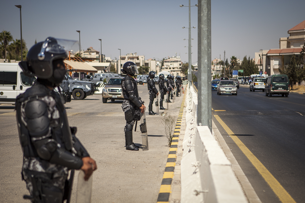 Riot Police outside U.S. Embassy Amman, Jordan Sep 14th 2012 - ©Uchujin-Adrian Storey. All Rights reserved.