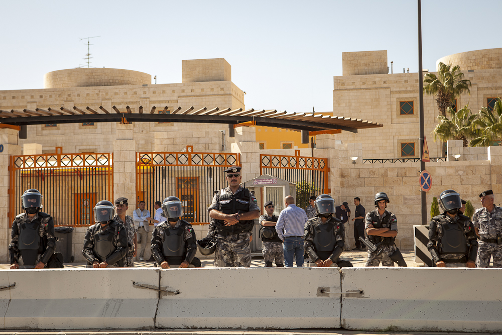 Police outside U.S. Embassy Amman, Jordan Sep 14th 2012 - ©Uchujin-Adrian Storey. All Rights reserved.