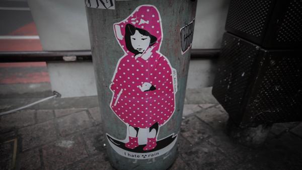 """281_Anti nuke """"I hate ☢ rain"""" Shibuya, Tokyo ©Uchujin-AdrianStorey"""