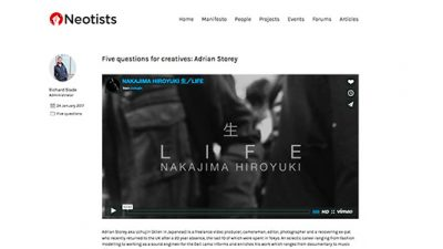 Neotists - 5 Questions for creatives Adrian Storey