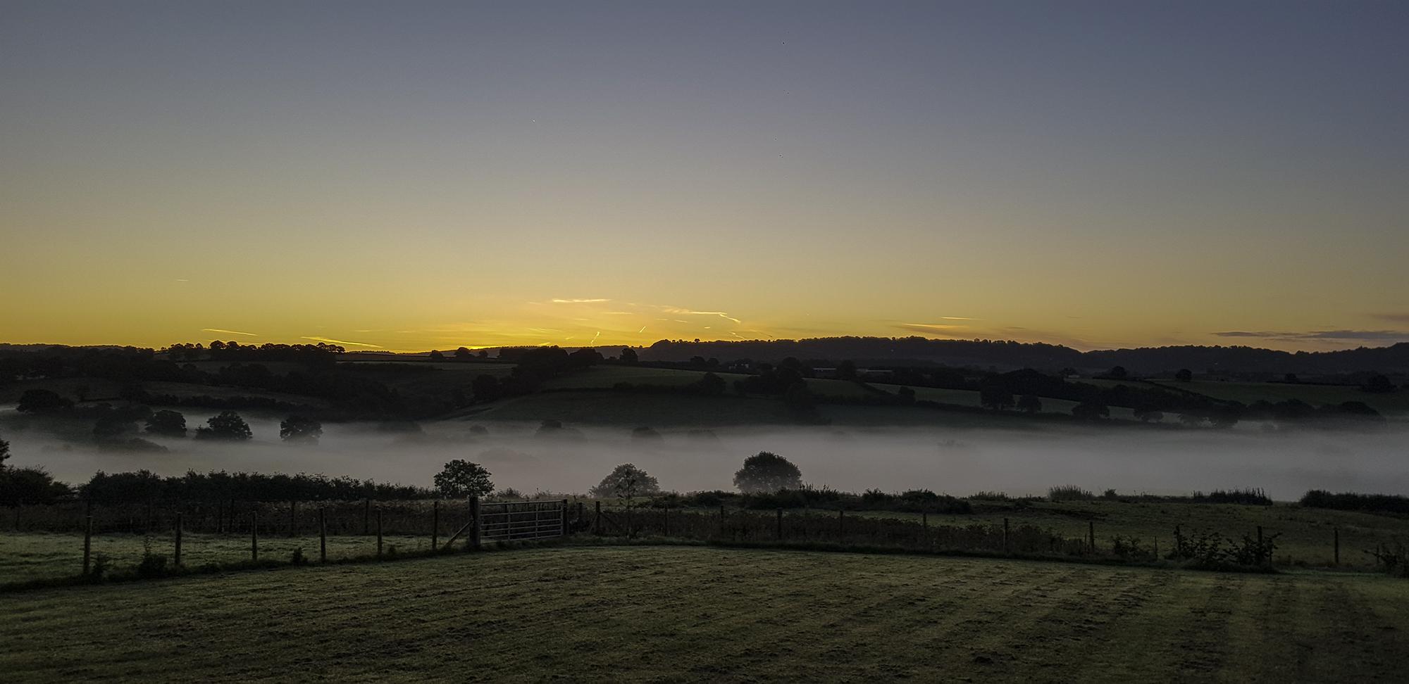 6am mist filled valley, Usk, Wales